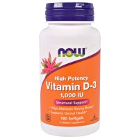 Now Foods, Vitamin D-3, High Potency, 1,000 IU, 180 Softgels